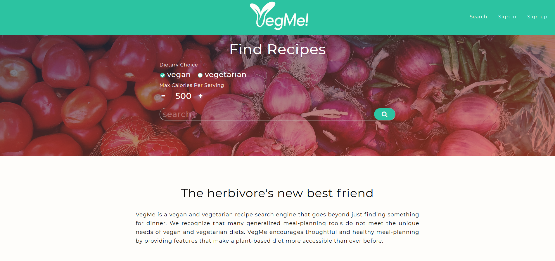 Screenshot of Vegme app